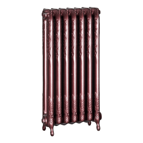 Ironworks Radiators Inc. refurbished cast iron radiator Chapeltown in Black Cherry metallic