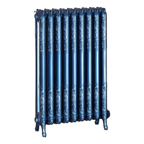 Ironworks Radiators Inc. refurbished cast iron radiator Cherrywood in Sapphire metallic