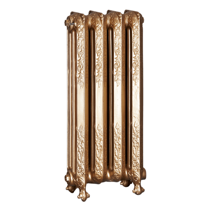 Ironworks Radiators Inc. refurbished cast iron radiator Christie in Pale Gold metallic