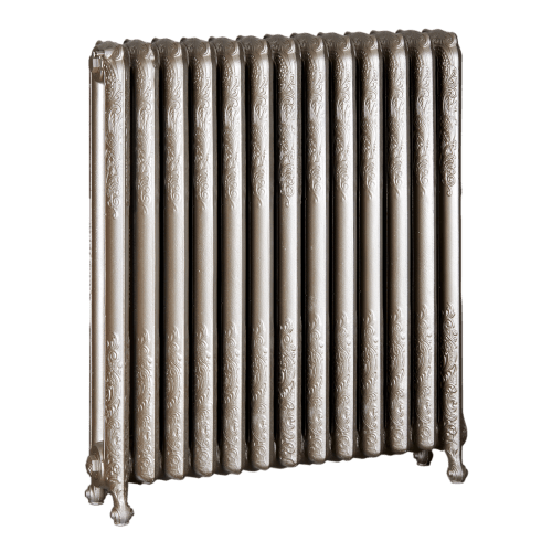 Ironworks Radiators Inc. refurbished cast iron radiator Danforth in Nickel metallic