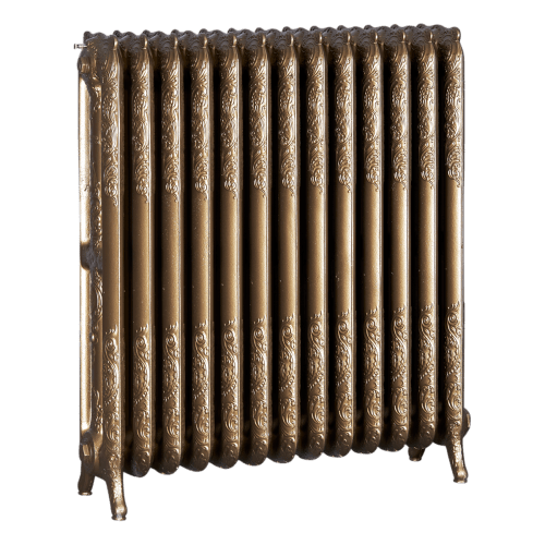 Ironworks Radiators Inc. refurbished cast iron radiator Elderbury in Brass metallic