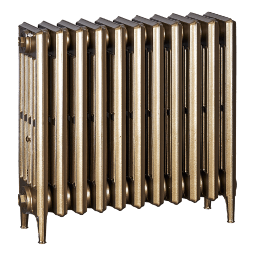 Ironworks Radiators Inc. refurbished cast iron radiator James in Brass metallic