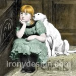 Dog Adoring Girl Art Painting