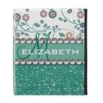 Aqua Turquoise Monogram Flower Glitter Pattern Gifts