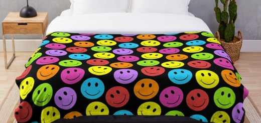 Happy Colorful Smiling Throw Blanket