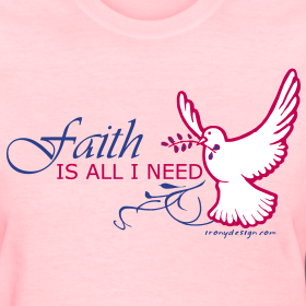 Inspirational Saying - Faith is All I Need, with a dove and swirls. Inspirational design for any belief and/or religions done in vector.