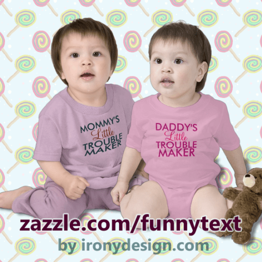 Mommy's Little Trouble Maker Blue  Shirts Cute text for kids, children, and babies. Mommy's Little Troublemaker and Daddy's Little Trouble Maker Shirts.