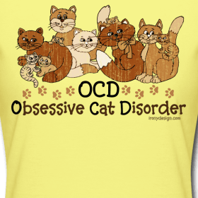 10 colorful cats in different colors. Funny cat spoof / parody to obsessive compulsive disorder. For cat lovers and even hoarders. Do they call you the crazy cat lady?