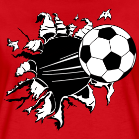 Powerful soccer ball kicked through a shirt done in Vector so the color can be changed.