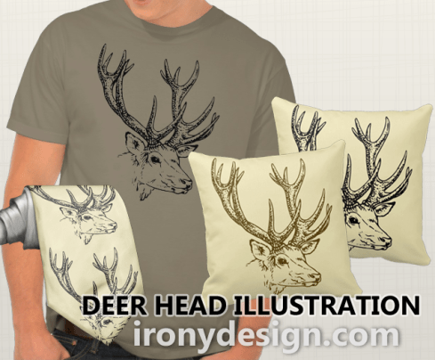 Deer Head Merchandise! A deer's head with a huge rack. For those who are for or against deer hunting. You can customize it and add any name and / or text. Deer image vector in dark brown and some in black and some has a beige background.