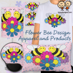 Flower Bee Design Products and Apparel