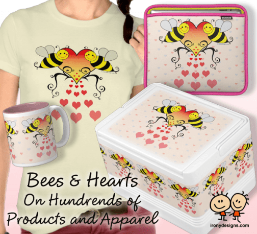 Bumble Bees With Hearts Design Merchandise 2 cute bumble bees with love overflowing out of a big red and yellow heart with a pink background with small pink and blue hearts. All done as vector illustration. For any occasions or to show your love on birthdays and valentine's day.