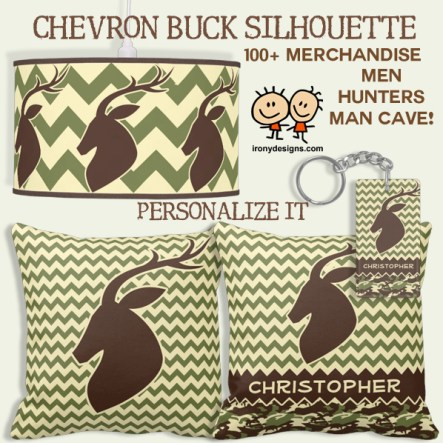 Chevron Pattern Buck Camouflage Monogram Merchandise. A deer buck head silhouette with antlers with a chevron pattern in green and camouflage with a monogram banner that you can personalize to any name. Great for those who love hunting and wild animals.