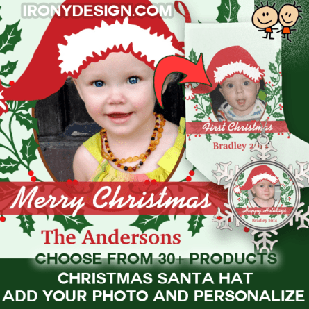 "Custom Santa Hat to Personalize! Custom Santa Hat Add Your Photo. A red Santa Hat and Holly Christmas with red Berries. Add your image to this fun Christmas design with a Santa Claus hat graphic that you can move and resize. Personalize this keepsake. A fun Santa hat to put on anyone's head! After you upload your photograph/image you can click ""Customize"" to resize it and move it to the right place!"