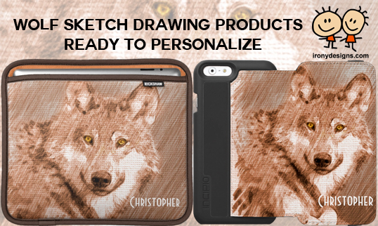 Wolf Sketch Drawing Image Merchandise Wolf Sketch Art Products. A wolf pencil sketch drawing image with browns, blue and yellow colors that is ready to be personalized with any name on over a hundred products and apparel.