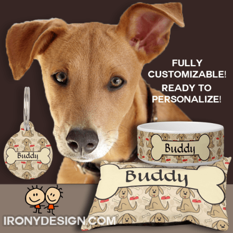 Personalize Dog Pattern Gift Products  A cute brown puppy dog pattern. One with his little tongue sticking out. A red dog food bowl with a dog bone in it and paw prints shaped like hearts in the background in a light beige. A big dog bone ready to personalize and add any dog name! Fully customizable! Great for Dog Groomers, Veterinarian, Dog Walkers, Dog Lovers and Dog Owners.