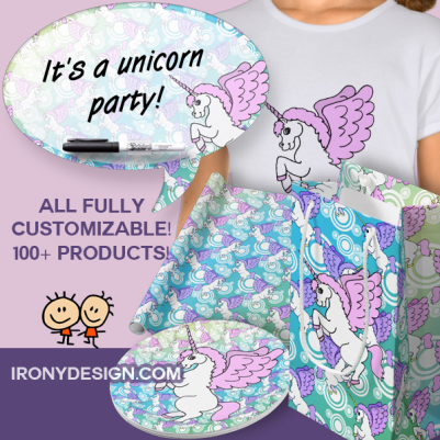 Whether you want to make a Unicorn theme Birthday Party or decorate a girl's room with Unicorns, you're sure to find all that you need and more here! From Unicorn Napkins, Paper plate Unicorns, Unicorn Wrapping Paper, Unicorn Gift Bags, Unicorn Lamps, Unicorn Shirts and so much more!  Cute White Unicorn with Pink hair and wings with a pattern of Unicorn background in gradient blue. Fully customizable. The Big Unicorn can be moved around and resized. Customize it and have fun!
