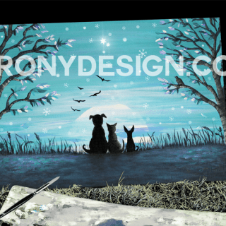 Winter Sunset Painting. Two dogs and cat silhouette watching the sunset on a winter evening. In colors of blue, black and white. With two trees on both sides and birds flying towards the sunset. Snowflakes falling and a couple of bright stars in the sky. Winter scenery Original Acrylic Painting Art done by Donna Leger for Irony Designs. All Rights Reserved