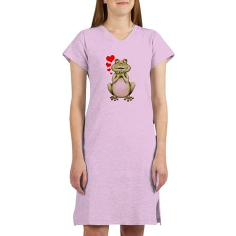 Frog Love Drawing Women's Nightshirt. Cute green Love Frog with red hearts. This Frog cartoon drawing was hand drawn and colored with pencils.