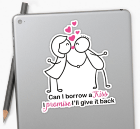 Cute Stick Figure Couple Kissing Stickers