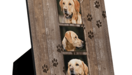 Custom Dog Memorial Photo Keepsake Gifts made with a rustic wood look.