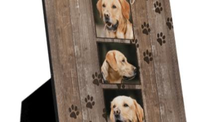 Custom Dog Memorial Photo Keepsake Gifts made with a rustic wood look.