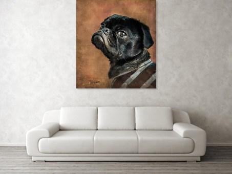 Black Pug Dog Portrait Painting Prints Gifts