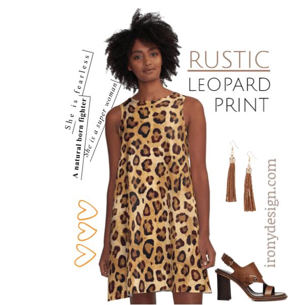 Rustic Texture Leopard Print A-Line Dress