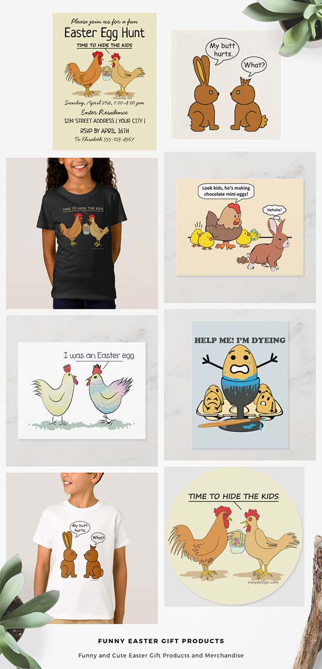 Funny Easter Gifts Collection with cute animals, such as bunny rabbits, chickens, roosters, easter eggs design drawings with funny bubble speach and funny sayings/quotes.