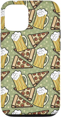 iPhone 12/12 Beer and Pizza Pattern Case