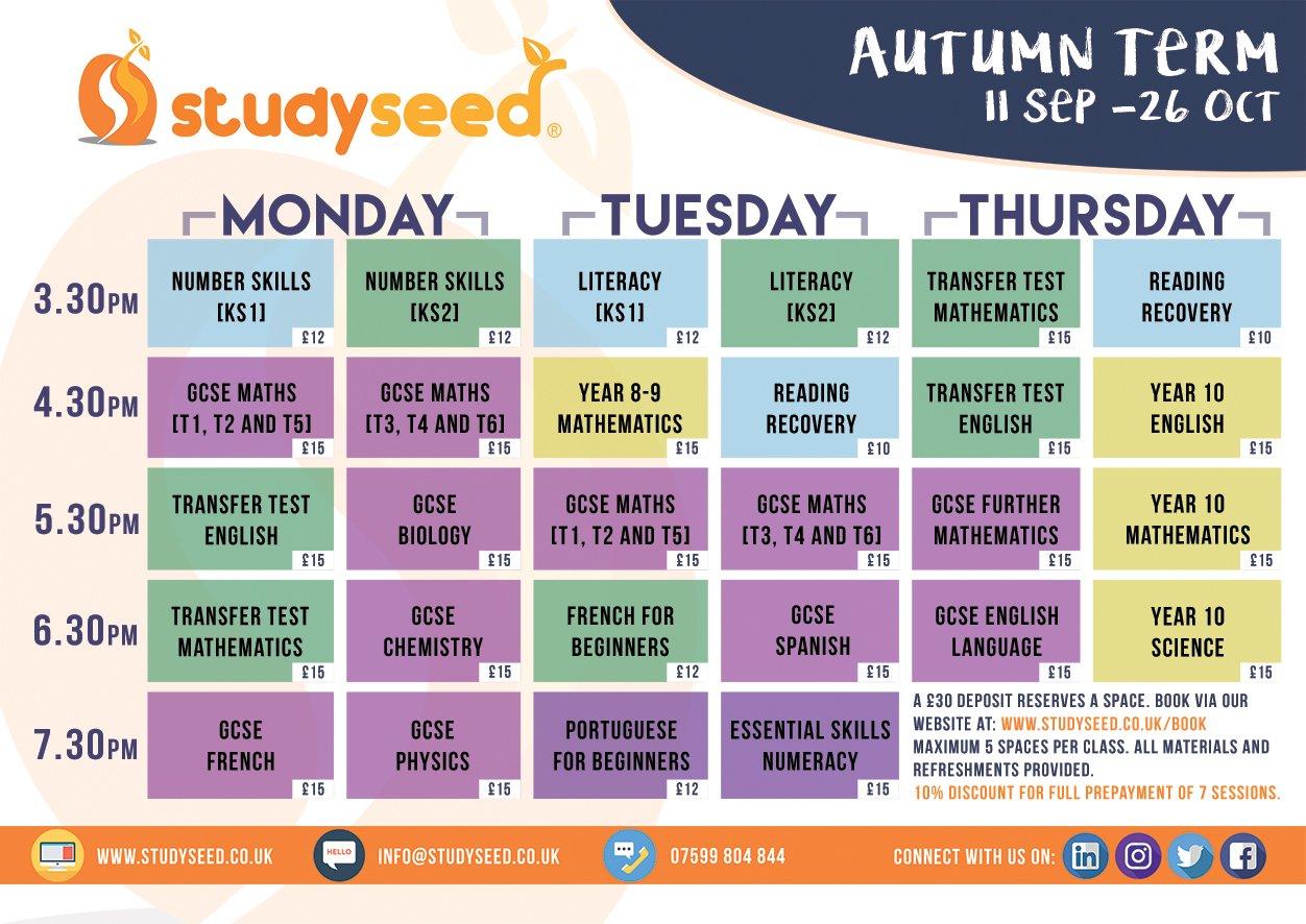 Autumn Timetable