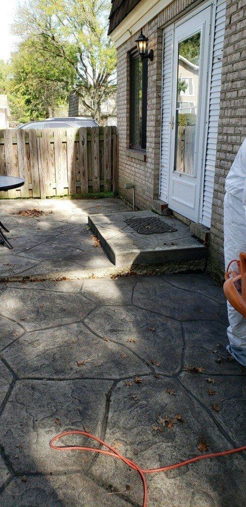 stamped concrete patio repair leveling