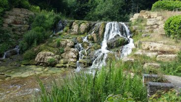 The waterfall in the formal garden