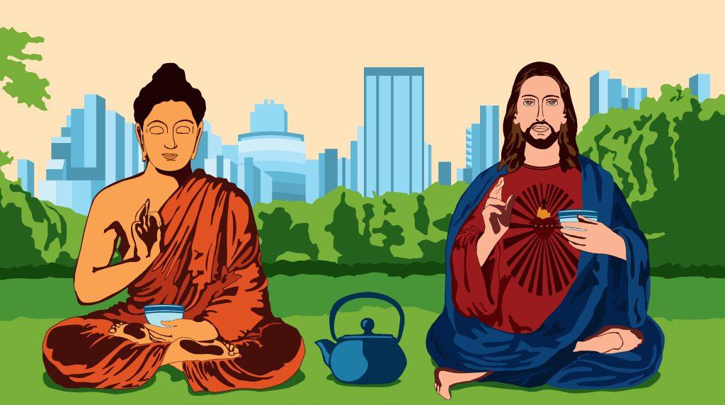Jesus encontra Buda no alto da montanha