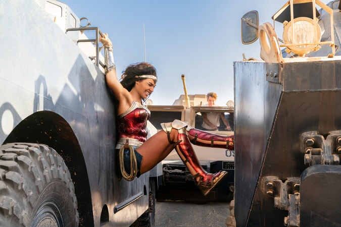 "(L-r) GAL GADOT as Wonder Woman and CHRIS PINE as Steve Trevor in Warner Bros. Pictures' action adventure ""WONDER WOMAN 1984"""