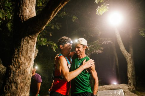 Karl Meltzer is greeted by Scott Jurek as he sets the new record for fastest supported thru-hike on the Appalachian. Image via the New York Times.