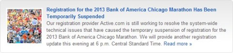 Registration for the Chicago Marathon has been temporarily suspended