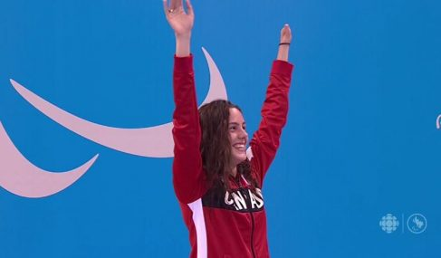 Aurelie Rivard wins Canada's first gold at the 2016 Rio Paralympics and sets a world record in the process. Image courtesy of CBC.