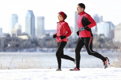 Runners running in winter city