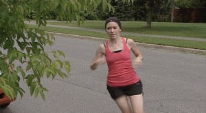 Erin Blaskie running in her Kanata neighbourhood (photo courtesy CTV news)