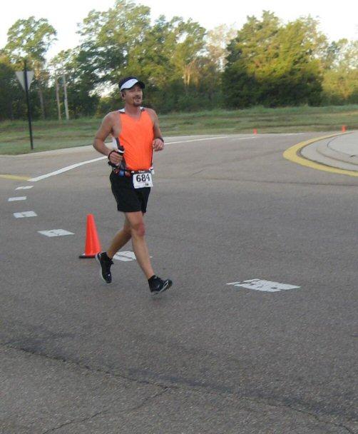 Downhill at mile 3.  I'm not heelstriking, I'm hitting the brakes!