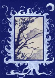 arbre... dessin bleu et blanc