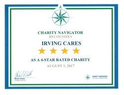 Irving Cares rated 4 stars by Charity Navigator Certificate issued August 2017