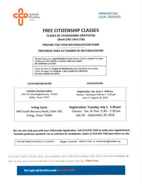 Free Citizenship Classes at Irving Cares Registration July 5 2018