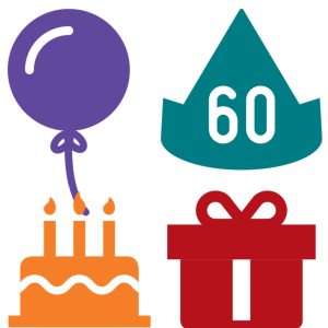 60th Birthday Balloon Party Hat Cake And Gift