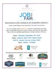 Hotel Assn Job Fair on 092916 at Embassy Suites South from 9am-12pm