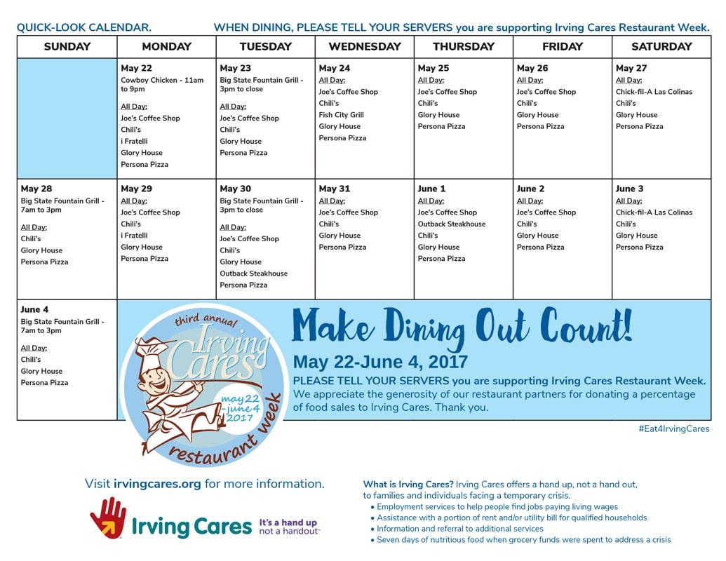 RestaurantWeek17-Calendar - Irving Cares