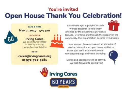 Open House Thank You Celebration at Irving Cares on 5/2/17 from 5-7 pm