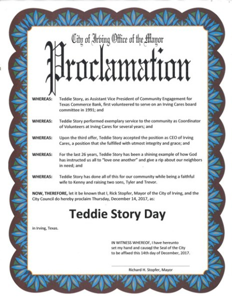 Teddie Story Day Proclamation