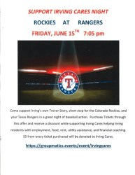 Colorado Rockies vs Rangers - Support Irving Cares Night